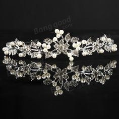 Metal Crystle Flower Wedding Bridal Tiara Alloy Prom Party Head Band - US$3.99