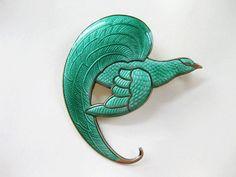 Vintage Thune Brooch Sterling Enamel Norway Bird of Paradise Green