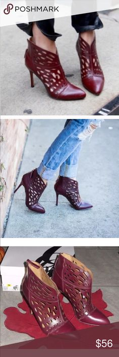"""Nine West burgandy booties You are viewing a sexy pair of NINE WEST ankle booties!  The style name is DARENNE and the color is DK PURP They are a burgundy color (this fall's color!)  Dramatic cutouts and subtle scalloped seams lend suave sophistication to a pointy-toe ankle bootie. 4.5"""" heel. Back zip closure. Leather upper/synthetic lining/rubber sole.  Size 6.5  $129 original Nine West Shoes Ankle Boots & Booties"""