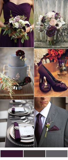 Perfect Wedding Color Combinations of Plum Purple and Grey Engag. Engagement and Hochzeitskleid - wedding and engagement 2019 Popular Wedding Colors, Fall Wedding Colors, Wedding Color Combinations, Wedding Color Schemes, Color Combos, Perfect Wedding, Dream Wedding, Wedding Day, Trendy Wedding