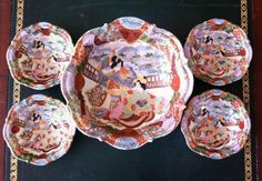Handpainted Signed 1920 Kutani Imari Style Geisha Porcelain Nut Bowl Set by…