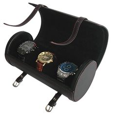 Sodynee Big 9 High Quality Pu Roll Travelers Watch Organizer Case Box for 3 Watch Black * Learn more by visiting the image link.