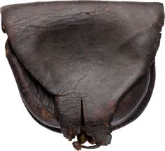 """Civil War Confederate Cap Box 3 1/2"""" X 3 1/4"""" brown leather cap box with single belt loop on the reverse, no tool marks. Made without inside flap, tip of latch tab torn, brass finial."""