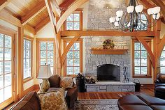 small timber frame homes - Google Search  inspiration for finishing the family room