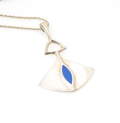 Sterling Silver Imitation Lapis Lazuli Necklace
