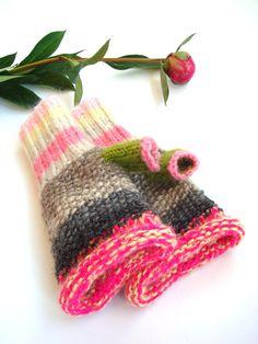 Christmas in July sale Funky fingerless gloves, pink women gloves, cute mittens. $39.00, via Etsy.