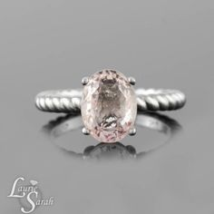 Light Pinnk Sapphire Ring, Platinum Engagement Ring with a rope shank - LS3803