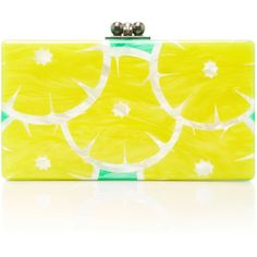 Edie Parker     M'O Exclusive Jean Slices Clutch ($1,495) ❤ liked on Polyvore featuring bags, handbags, clutches, yellow, edie parker, edie parker clutches, edie parker handbags, yellow clutches and yellow purse