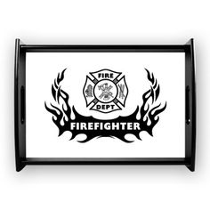 Fire Dept Firefighter Tattoos Large Serving Tray