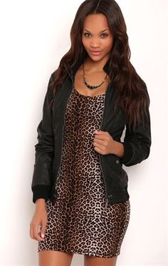 Deb Shops Zip Front Faux Leather Jacket with Knit Collar $25.26