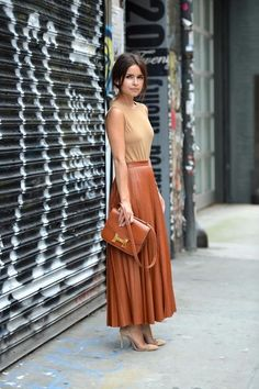 Caramel pleated maxi skirt