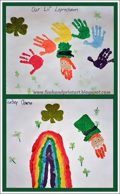 handprint rainbow and leprechaun craft for St Patrick's Day