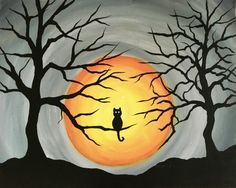 Paint Nite events near Sacramento, CA, United States Fall Canvas Painting, Autumn Painting, Autumn Art, Halloween Canvas, Halloween Painting, Halloween Art, Mini Canvas Art, Small Canvas, Art Plastique