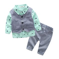 Nice  new style newborn baby gentlemen boy 3pcs/set clothing set shirt+vest+casual pants quality baby clothes - $ - Buy it Now!