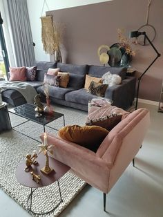 How To Decorate A Grey and Blush Pink Living Room Blush Pink Living Room, Pink Room, Living Room Lighting, Living Room Decor, Living Room Scandinavian, Stairs In Living Room, Rooms For Rent, Room Interior Design, Interior Paint