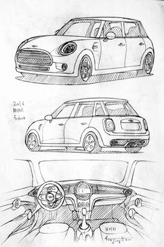 Car drawing 160131.  2016 MINI 5-door.  Prisma on paper.  Kim.J.H