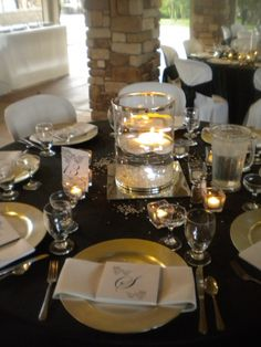 Black, white, silver wedding