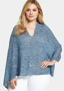 Eileen Fisher Plus Size Linen Poncho - LOVELY Color!  Great to throw over you in a spring and summer when the Air Conditioner can get a bit much!