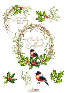 Christmas Wreath and Bouquets. With Bird Bullfinch. от ReachDreams
