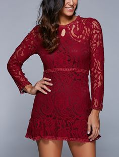 See Through Lace A Line Dress (Wine red) Lace A Line Dress, Short Lace Dress, Lace Dress Black, Dress Red, Cute Casual Dresses, Cheap Dresses, See Through Dress, Different Dresses, Cheap Fashion