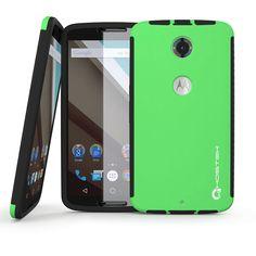 Nexus 6 Case, Ghostek Blitz green Nexus 6 Case W/ Attached Nexus 6 Screen Protector - Lifetime Warranty - Rubberized Fitted Smooth Non-Slip Grip