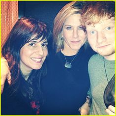 Thanksgiving Celebrations; Jennifer Aniston with her manager and Ed Sheeran