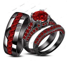 4.00 Carat Round Cut Red Garnet in 14K Black Gold Finish His & Her Trio Ring Set #beijojewels