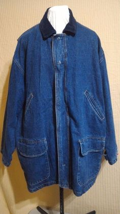 BLACK FRIDAY SALE! IZOD Denim Coat Jacket 100% Cotton Lined Double Headed Zipper Corduroy Collar  | eBay