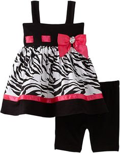 Amazon.com: Sweet Heart Rose Baby Girls' Zebra Bike Short Set, Black/White/Pink, 12 Months: Infant And Toddler Clothing Sets: Clothing