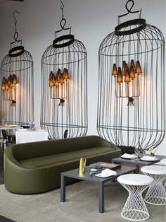 trompe l'oeil cage lanterns - if I had a restaurant....