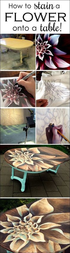 Use WOOD STAIN to create artwork on furniture! Tutorial and time-lapse video! {Reality Daydream} #woodworkdecor