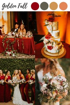 Fall wedding color ideas, fall color palette, winter wedding colors, burgundy green golden orange we Burnt Orange Weddings, Orange Wedding Colors, Winter Wedding Colors, Fall Wedding Flowers, Burgundy Wedding, Autumn Wedding, Wedding Yellow, Formal Wedding, Rustic Wedding