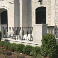 Porch and Patio Railings Exterior Stair Railing, Front Porch Railings, Brick Porch, Patio Railing, Concrete Porch, Modern Balcony, Modern Patio, Modern Exterior, Veranda Railing