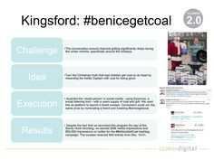 #benicegetcoal was an online social activation with the goal of increasing overall conversation around Kingsford charcoal during the month of December. We turned the idea of giving coal to bad kids on its head by giving coal for being nice! Overall, we received over 800K twitter impressions with this campaign, 250 media impressions and 650 sweeps entries.