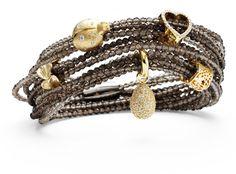 Smoky quartz gemstone bracelet with charms...by Story jewelry.