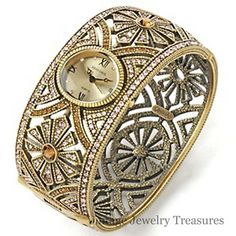 """Heidi Daus """"Simply Regal"""" Crystal Bangle Watch Size Large New SOLD OUT HSN $69"""