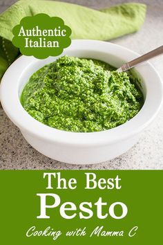 The Best Pesto is made with Pecorino Romano! We've been enjoying this authentic pesto since the 1980s! It'll become your go-to recipe for basil pesto sauce. #pesto #pestorecipe #basilpesto
