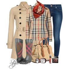 Coat Burberry, Shirt Burberry, Jeans 7 For All Mankind, Rainboots Burberry, Bag Burberry, Scarf Burberry, Glasses Burberry, Lipgloss Burberry and eyeshadow Burberry.