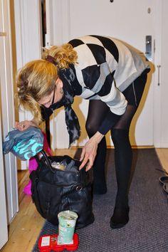 Danish MILF Tina in black tights and stocking feet.