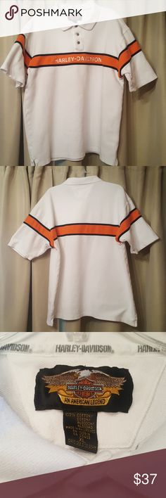 Harley-Davidson Henley/Polo Mens Authentic Harley-Davidson 3 button shirt with collar.  Heavy weight cotton blend.  Embroidered Harley-Davidson across chest.  White with Orange & Black.  In good used condition. Harley-Davidson Shirts Polos