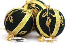 Vánoční ozdoby * černé sklo malované zlatými cesmínovými listy, luxusní ♥