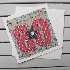 Your place to buy and sell all things handmade 80th Birthday Cards, Special Birthday, Handmade Birthday Cards, Sew Baby, Baby Sewing, Embroidery Cards, Machine Embroidery, Matching Cards, Blank Cards