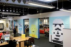 Creative Employees Decorate Their Office Walls With Pixelated 'Star Wars' Murals Made From 3,597 Post-It Notes