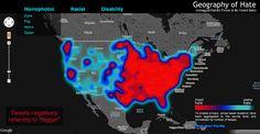 Visualisierter Hass: Die Hate-Map visualisiert in welchen Regionen in den USA am häufigsten rassistische oder homophobe Begriffe getwittert werden. Wie wohl so eine Karte für Deutschland aussehen würde?    www.thedigitalguide.net  www.facebook.com/TheDigitalGuide