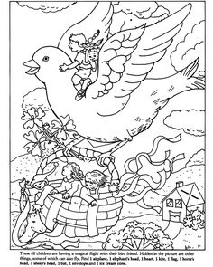 Hidden Picture Puzzle Coloring Book Sample Page With Answers