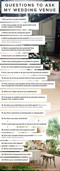 23 Questions to ask for your #Wedding #Venue