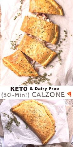 This gluten free and keto calzone pays a great homage to the classic Italian turnovers made with pizza dough. This one, however, uses our (dairy free!) keto dough to yield an awesome low carb dish. Dairy Free Keto Recipes, Dairy Free Pizza, Dairy Free Cheese, Low Carb Recipes, Healthy Recipes, Diet Recipes, Lunch Recipes, Gluten Free Calzone Recipe, Chicken Recipes