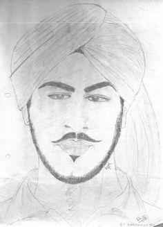 Martyr Bhagat Singh on a4 sheet - Sketching by Dashmeet Singh in pencil on paper at touchtalent 20517