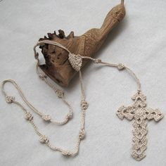 Crochet Necklace Cross Long Necklace Rosary Beadwork by margity