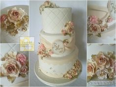 Cream coloured wedding cake. A classic vintage feel with gumpaste roses, carnations, buds, primrise blossoms etc. Flowers are dusted in various shades of ivory, taupe and some blush pink. The leaves, some petals and other details are gilded with gold. Monogram at centre tier hand piped and painted with gold.